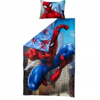 Lenjerie de pat, copii, 1 persoana, Spider Man, bumbac, 2 piese, cu imprimeu