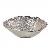 Bol decorativ AL2039/S, din aluminiu, argintiu, 25.5 cm
