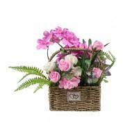 Aranjament flori artificiale YF801, diverse flori, 38 cm