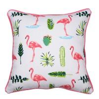 Perna decor N-8974, bumbac + poliester, cu print flamingo, 40 x 40 cm