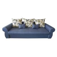 Canapea extensibila 3 locuri Alina, cu lada, albastru deschis, 230 x 105 x 90 cm, 2C