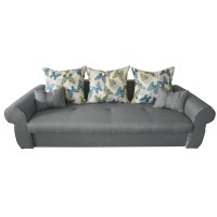 Canapea extensibila 3 locuri Alina, cu lada, gri deschis, 230 x 105 x 90 cm, 2C