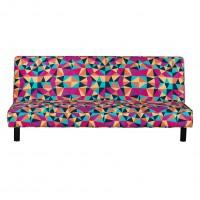 Husa pentru canapea extensibila 3 locuri Happy, model triunghiuri, multicolora, 1C