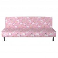 Husa pentru canapea extensibila 3 locuri Happy, model unicorn, roz, 1C