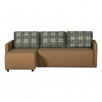 Coltar living extensibil pe stanga / dreapta Lovely + husa maro cu imprimeu, 215 x 140 x 76.5 cm, 3C