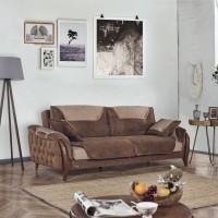 Canapea extensibila 3 locuri Enjoy, cu lada, maro + bej, 228 x 107 x 84 cm, 1C