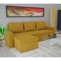 Coltar living extensibil pe stanga / dreapta Amadeo, cu lada, galben, 247 x 148 x 78 cm, 3C
