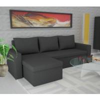 Coltar living extensibil pe stanga / dreapta Amadeo, cu lada, negru, 247 x 148 x 69 cm, 3C