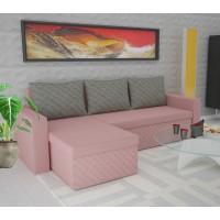 Coltar living extensibil pe stanga / dreapta Amadeo, cu lada, roz + gri, 247 x 148 x 78 cm, 3C