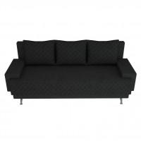 Canapea extensibila 3 locuri Karla, cu lada, neagra, 205 x 84 x 78 cm, 2C