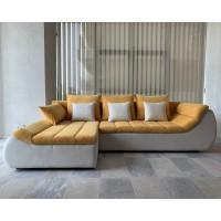 Coltar living extensibil pe dreapta Florence, cu lada, galben + crem, 280 x 170 x 75 cm, 3C