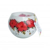Vaza decorativa, sticla pictata, alb, model trandafiri, 14 x 10 cm