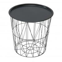 Masuta cafea din metal ST28860F-BK, rotunda, neagra, 45 x 45 cm