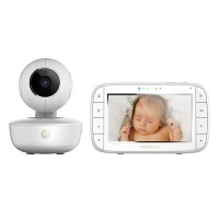 Baby monitor video wireless Motorola MBP55, ecran LCD 5 inch, mod Eco, microfon incorporat, vizibilitate pe timp de noapte, afisare temperatura, functie Zoom, gri + alb