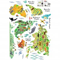 Sticker decorativ perete, camera copii, World Map, PT3701, 50 x 70 cm