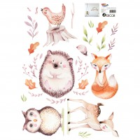 Sticker decorativ perete, camera copii, Animale din padure, PT3702, 50 x 70 cm