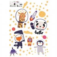 Sticker decorativ perete, camera copii, Animale in spatiu, PT3703, 50 x 70 cm