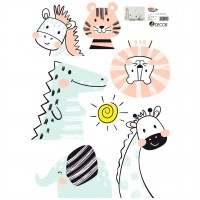 Sticker decorativ perete, camera copii, Animale Dragute, PT3704, 50 x 70 cm