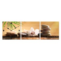 Tablou canvas cu ceas TA19-AZ915, 3 piese, natura statica, panza, 90 x 30 cm
