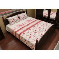 Lenjerie de pat Mountain, model de Craciun, bumbac ranforce 100%, 2 persoane, 4 piese, alb + rosu