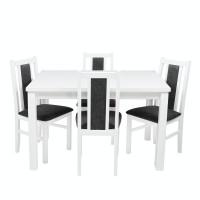 Set masa extensibila cu 4 scaune tapitate S-38, bucatarie, alb + gri, 4C