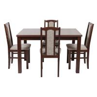 Set masa extensibila cu 4 scaune tapitate S-37, bucatarie, nuc + maro, 4C
