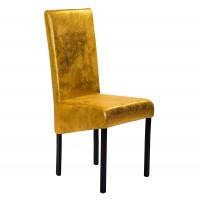 Scaun bucatarie / living fix Kia, tapitat, metal maro + material textil auriu