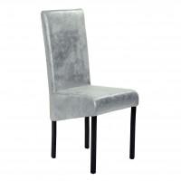Scaun bucatarie / living fix Kia, tapitat, metal maro + material textil argintiu