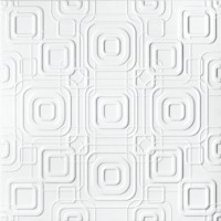 Tavan fals decorativ, polistiren extrudat, C2070, modern, alb, 50 x 50 cm