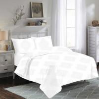 Lenjerie de pat, 2 persoane, Lorena White, bumbac ranforce, 4 piese, alb