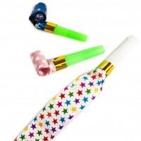 Fluier extensibil Party, diverse culori, set 5 bucati