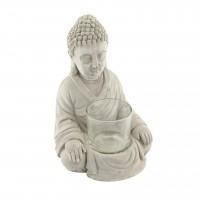 Suport lumanare Buddha, din ciment, 17 cm