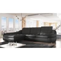 Coltar living extensibil pe dreapta Dallas, cu lada, negru + gri, 295 x 192 x 86 cm, 2C