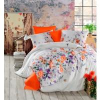 Lenjerie de pat Autumm, 2 persoane, bumbac ranforce 100%, 4 piese, alb cu imprimeu floral