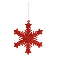 Decoratiune Craciun, fulg de zapada, rosu, diferite modele, CAA650120