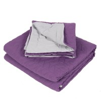Cuvertura de pat + 2 fete de perna, Caressa, 100 % microfibra, 220 x 240 cm, mov / gri