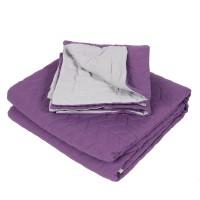 Cuvertura de pat + 2 fete de perna, Caressa, 100 % microfibra, 180 x 220 cm, mov / gri