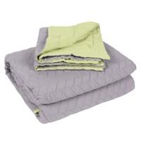 Cuvertura de pat + 2 fete de perna, Caressa, 100 % microfibra, 180 x 220 cm, galben / gri