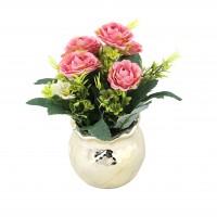 Aranjament flori artificiale XW1905, roz, 22 cm