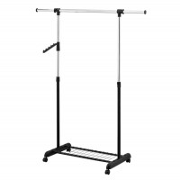 Stander haine HG30D cu bara umerase si polita, metal cromat + plastic negru, 995 / 1465 x 440 x 1055 / 1650 mm