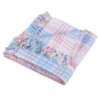 Cuvertura de pat, TECUV077101, bumbac 100%, 125 x 150 cm, model carouri, albastru + fata de perna