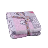 Cuvertura de pat, Shabby chic Q401-001, poliester 100%, 250 x 250 cm, roz + gri