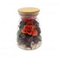 Decoratiune cu flori parfumate, D2941, sticla, 17 cm