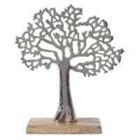 Decoratiune copac A06561120, aluminiu + lemn, argintie, 23 x 8 x 26 cm