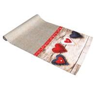 Napron Craciun, model Heart, poliester, rosu+bej, 40 x 160 cm