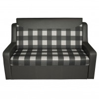 Canapea extensibila 2 locuri Celinne, cu lada, gri + model carouri, 148 x 90 x 95 cm, 1C