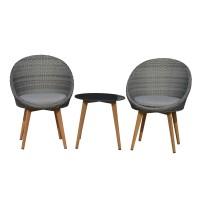 Set masa rotunda, cu 2 scaune, pentru gradina Gratz, din metal cu ratan sintetic
