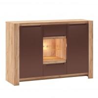 Comoda dormitor Faro, cu 2 usi + 2 sertare, stejar A458 + mocca, 135 x 94 x 43 cm, 5C