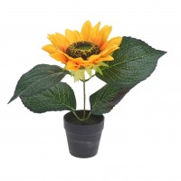 Floare artificiala, Floarea soarelui in ghiveci, Koopman 317002820, H 22 cm