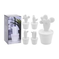 Decoratiune portelan, Cactus alb in ghiveci, Koopman 252960050, diverse modele, H 14 cm